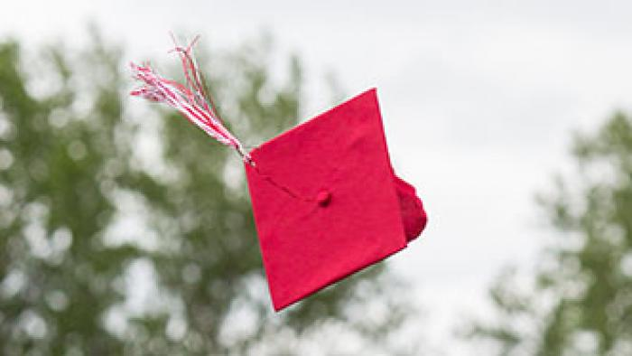 A red graduation cap is being tossed into the air.
